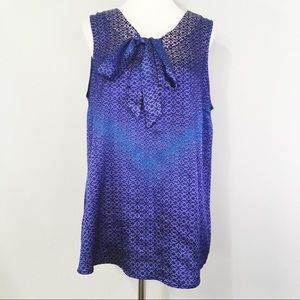 The Limited Blue Geometric Print Front Tie Blouse
